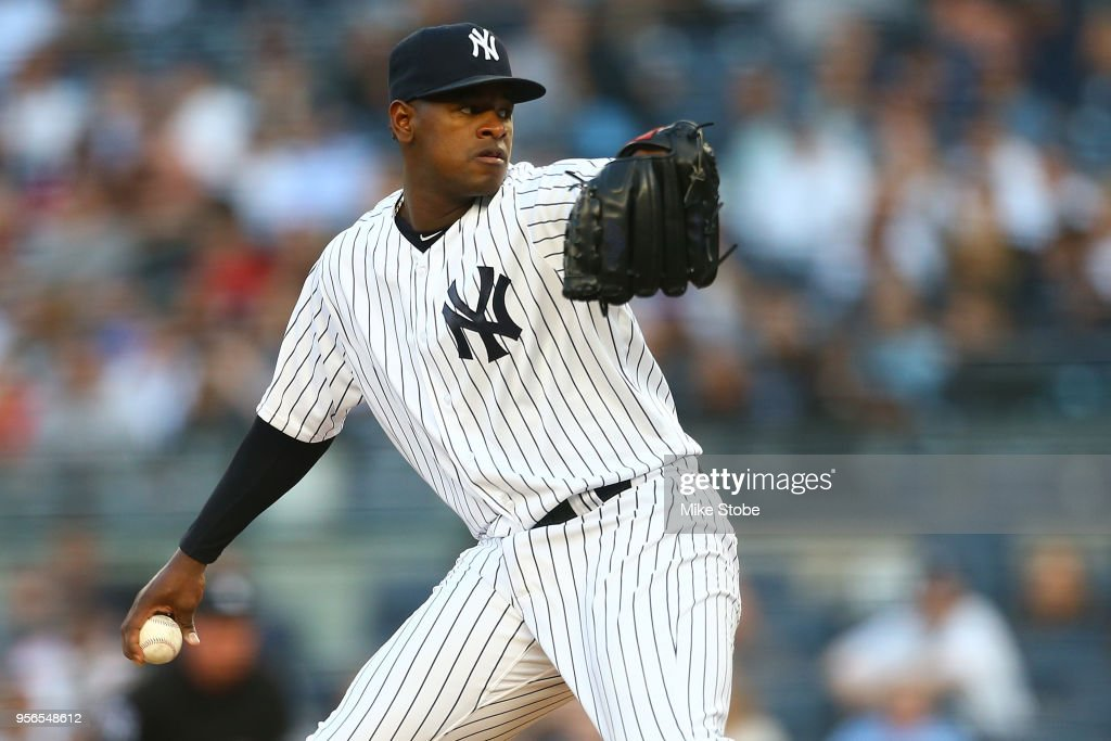 Luis Severino #40 of the New York Yankees in action against the Boston Red Sox at Yankee Stadium on May 8, 2018 in the Bronx borough of New York City. New York Yankees defeated the Boston Red Sox 3-2.