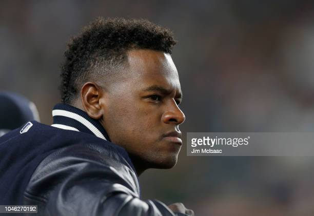 Luis Severino of the New York Yankees looks on against the Oakland Athletics in the American League Wild Card Game at Yankee Stadium on October 3...