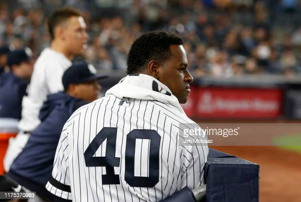 Luis Severino of the New York Yankees looks on from the dugout during the fifth inning against the Los Angeles Angels of Anaheim at Yankee Stadium on...