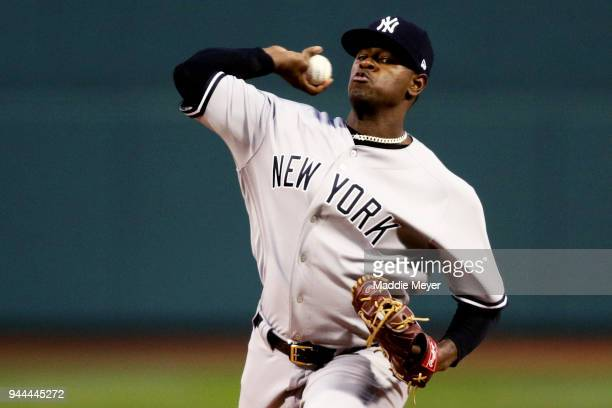 Luis Severino of the New York Yankees pitches against the Boston Red Sox during the first inning at Fenway Park on April 10 2018 in Boston...