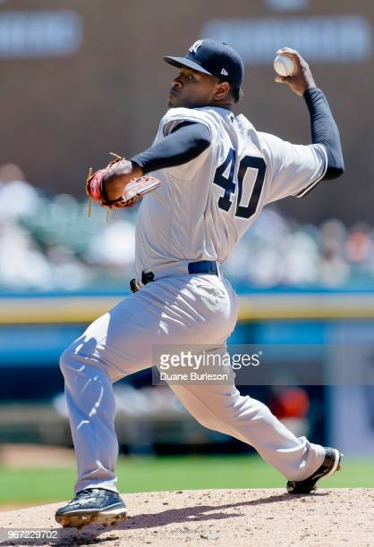 Luis Severino of the New York Yankees pitches against the Detroit Tigers during the second inning at Comerica Park on June 4 2018 in Detroit Michigan