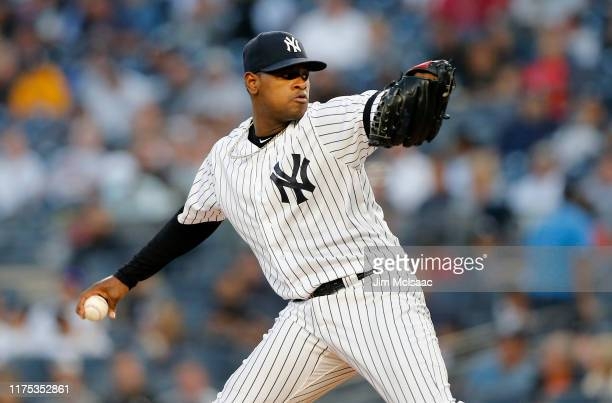 Luis Severino of the New York Yankees pitches against the Los Angeles Angels of Anaheim at Yankee Stadium on September 17 2019 in the Bronx borough...