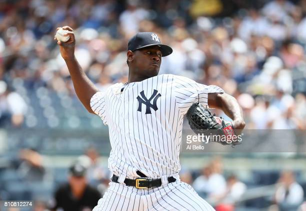 Luis Severino of the New York Yankees pitches against the Milwaukee Brewers in the first inning during their game at Yankee Stadium on July 8 2017 in...