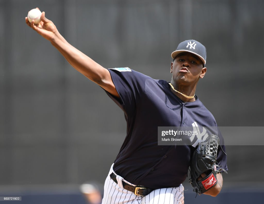 Luis Severino #40 of the New York Yankees pitches before the second inning during the spring training game between the New York Yankees and the Miami Marlins at George M. Steinbrenner Field on March 18, 2018 in Tampa, Florida.