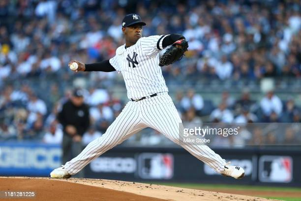 Luis Severino of the New York Yankees pitches during the first inning against the Houston Astros in game three of the American League Championship...