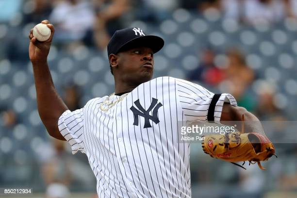 Luis Severino of the New York Yankees pitches during the first inning of a game against the Minnesota Twins on September 20 2017 at Yankee Stadium in...