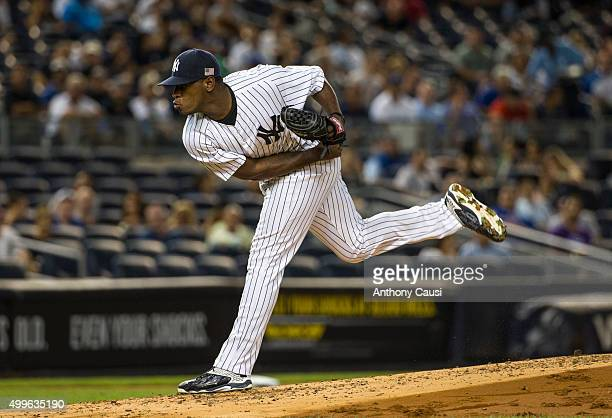 Luis Severino of the New York Yankees pitches during the game against the Toronto Blue Jays at Yankee Stadium on Friday September 11 2015 in the...