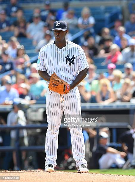 Luis Severino of the New York Yankees pitches during the Spring Training game against the Detroit Tigers at George M Steinbrenner Field on March 2...