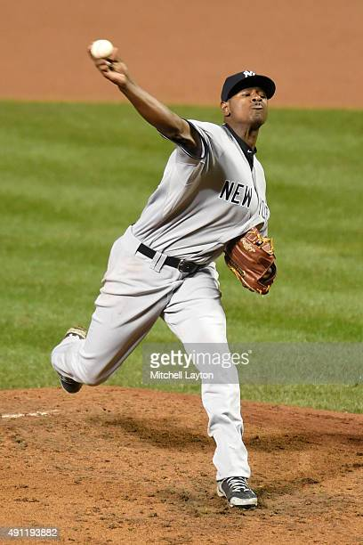 Luis Severino of the New York Yankees pitches in forth inning during game two of a doubleheader against the Baltimore Orioles at Oriole Park at...