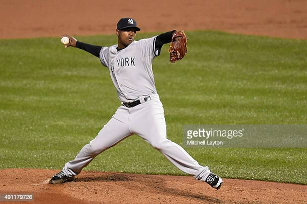 Luis Severino of the New York Yankees pitches in second inning during game two of a doubleheader game against the Baltimore Orioles at Oriole Park at...