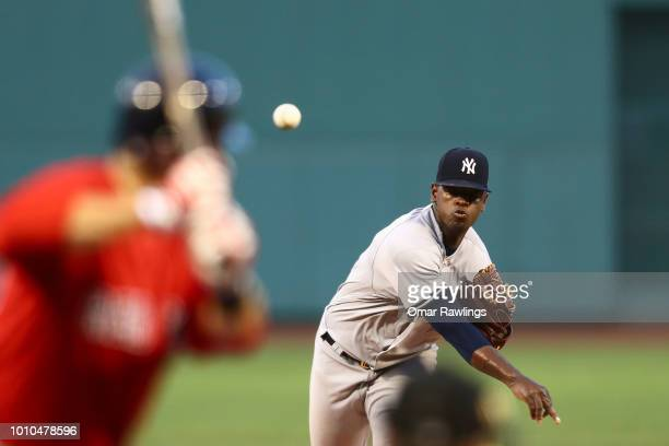 Luis Severino of the New York Yankees pitches in the bottom of the first inning of the game against the Boston Red Sox at Fenway Park on August 3...