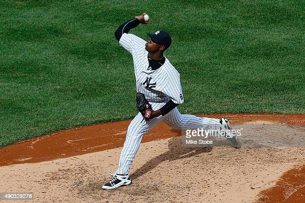 Luis Severino of the New York Yankees pitches in the fifth inning against the Chicago White Sox at Yankee Stadium on September 27 2015 in the Bronx...