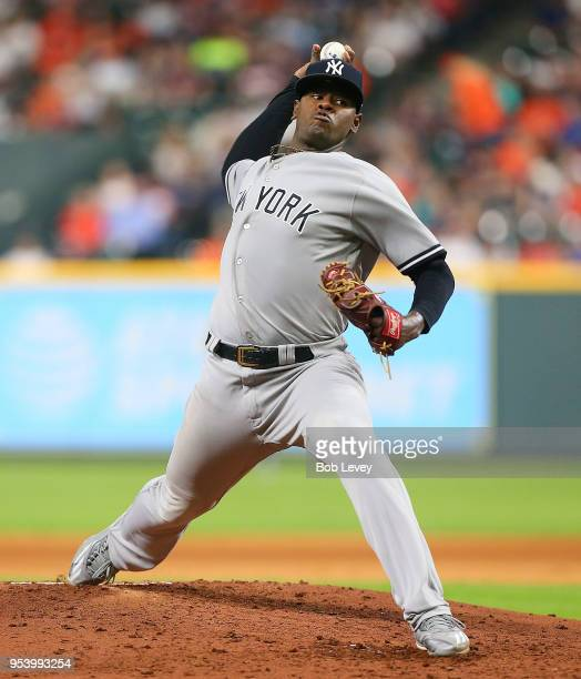 Luis Severino of the New York Yankees pitches in the fifth inning against the Houston Astros at Minute Maid Park on May 2 2018 in Houston Texas