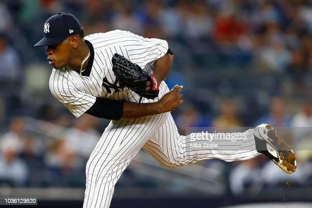 Luis Severino of the New York Yankees pitches in the first inning against the Boston Red Sox at Yankee Stadium on September 19 2018 in the Bronx...