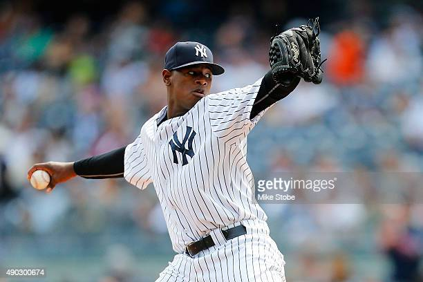 Luis Severino of the New York Yankees pitches in the first inning against the Chicago White Sox at Yankee Stadium on September 27 2015 in the Bronx...