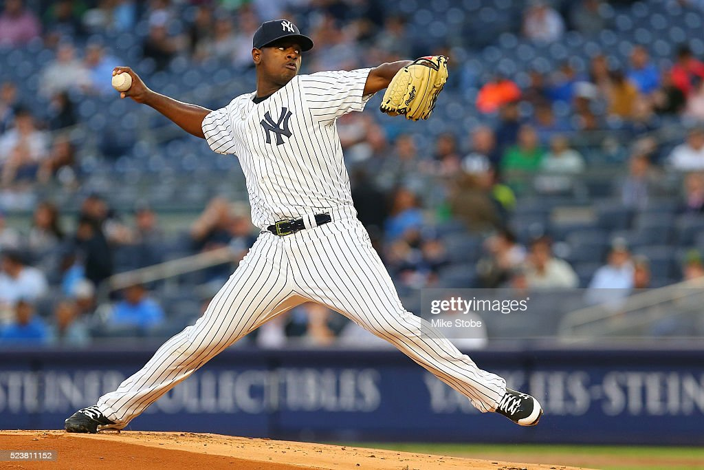 Luis Severino #40 of the New York Yankees pitches in the first inning against the Oakland Athletics at Yankee Stadium on April 21, 2016 in the Bronx borough of New York City. Athletics defeated the Yankees 7-3.