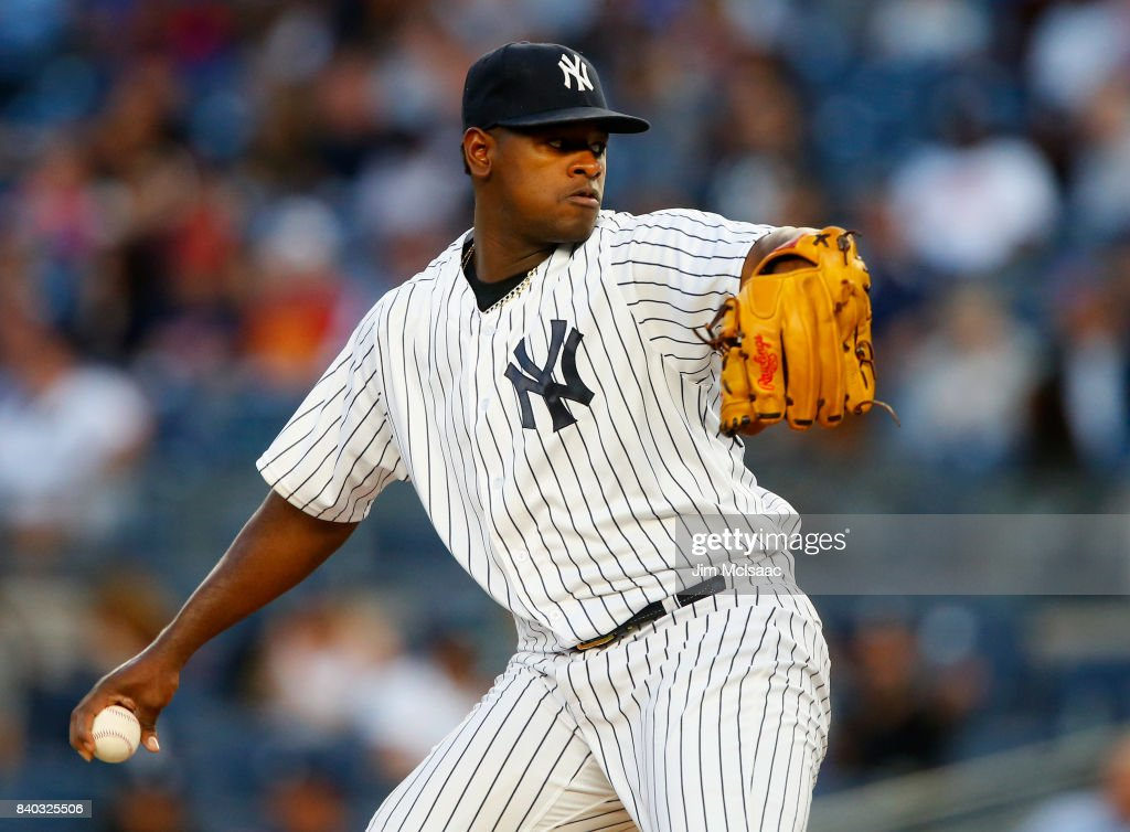 Luis Severino #40 of the New York Yankees pitches in the first inning against the Cleveland Indians at Yankee Stadium on August 28, 2017 in the Bronx borough of New York City.