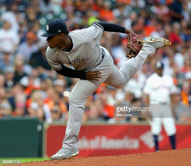 Luis Severino of the New York Yankees pitches in the first inning against the Houston Astros at Minute Maid Park on May 2 2018 in Houston Texas