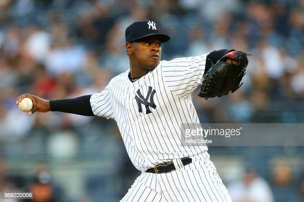 Luis Severino of the New York Yankees pitches in the first inning against the Boston Red Sox at Yankee Stadium on May 8 2018 in the Bronx borough of...