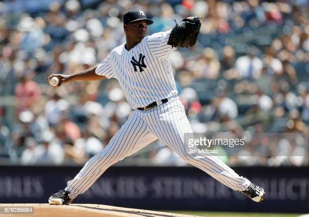 Luis Severino of the New York Yankees pitches in the first inning against the Tampa Bay Rays at Yankee Stadium on June 16 2018 in the Bronx borough...