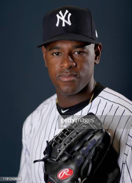 Luis Severino of the New York Yankees poses for a portrait during the New York Yankees Photo Day on February 21 2019 at George M Steinbrenner Field...