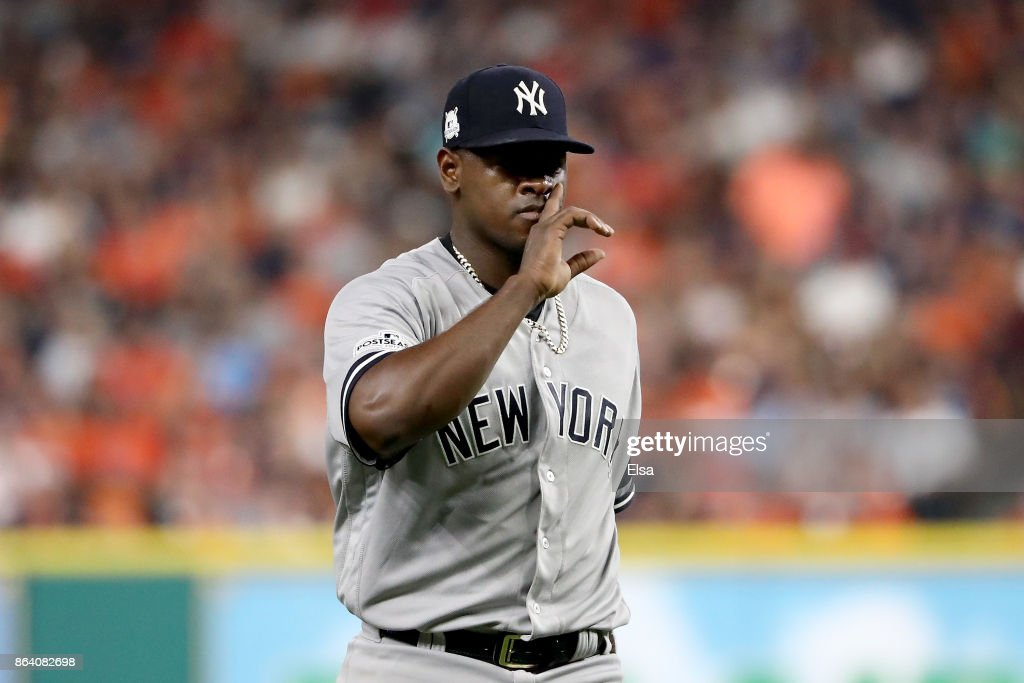 Luis Severino #40 of the New York Yankees reacts after a pitch to Alex Bregman #2 of the Houston Astros during the second inning in Game Six of the American League Championship Series at Minute Maid Park on October 20, 2017 in Houston, Texas.
