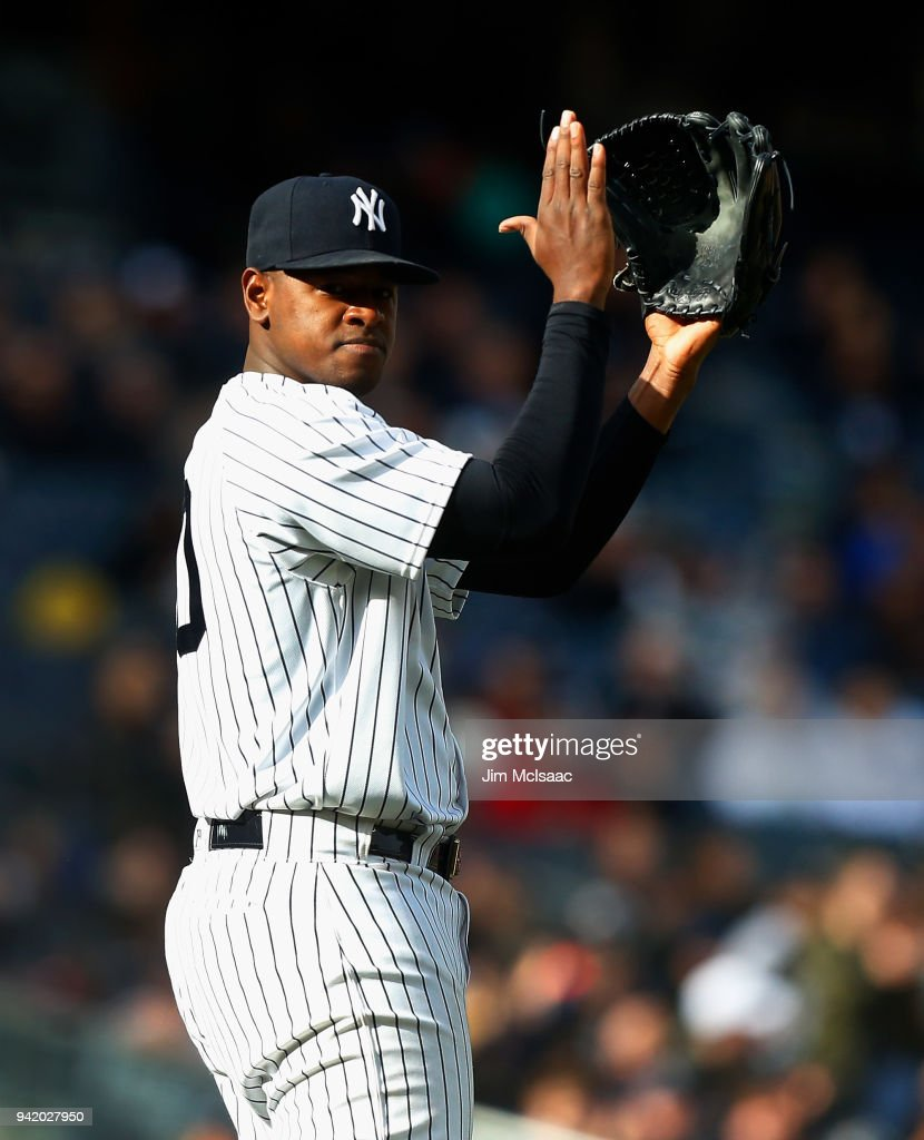 Luis Severino #40 of the New York Yankees reacts after a seventh inning double play against the Tampa Bay Rays at Yankee Stadium on April 4, 2018 in the Bronx borough of New York City.