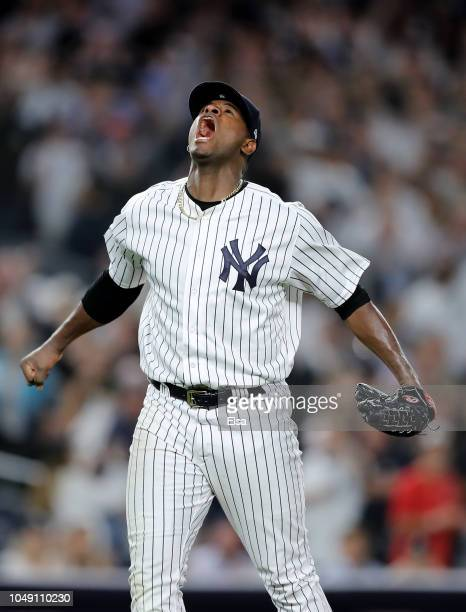 Luis Severino of the New York Yankees reacts after closing out the third inning against the Oakland Athletics during the American League Wild Card...