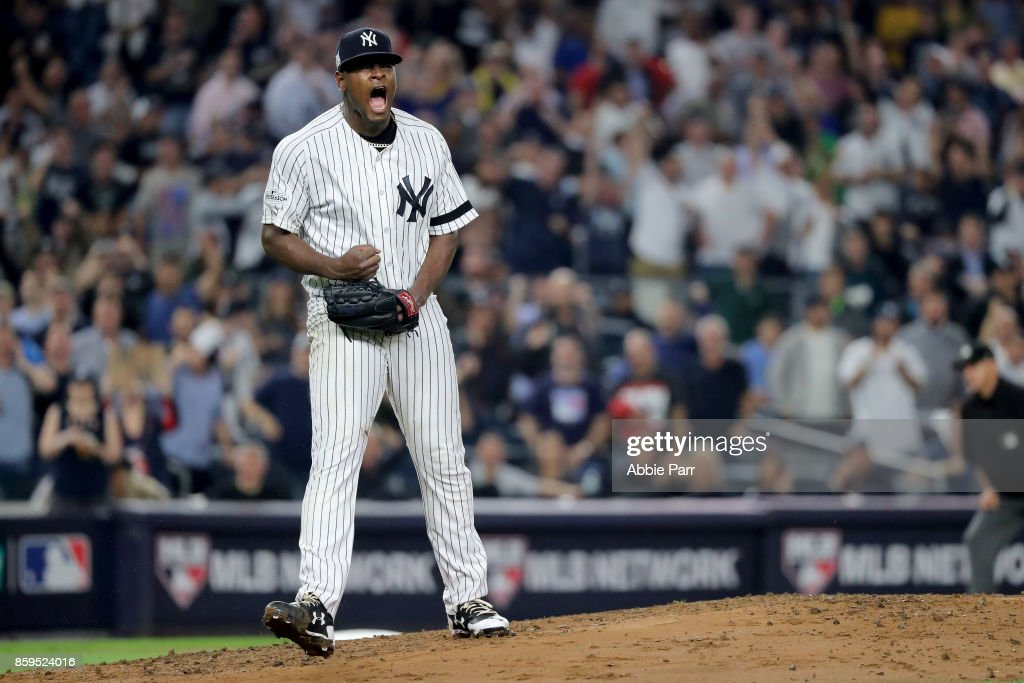 Luis Severino #40 of the New York Yankees reacts after closing out the top of the second inning against the Cleveland Indians in Game Four of the American League Divisional Series at Yankee Stadium on October 9, 2017 in the Bronx borough of New York City.