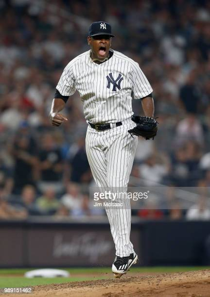 Luis Severino of the New York Yankees reacts after getting the final out of the third inning against the Boston Red Sox at Yankee Stadium on July 1...