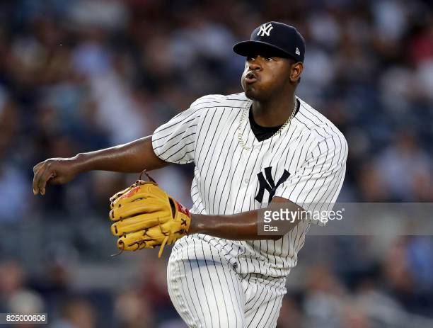 Luis Severino of the New York Yankees reacts after giving up an RBI double to James McCann of the Detroit Tigers in the fourth inning on July 31 2017...