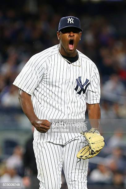 Luis Severino of the New York Yankees reacts after striking out Coco Crisp of the Oakland Athletics to end the fourth inning at Yankee Stadium on...