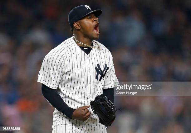 Luis Severino of the New York Yankees reacts after the last out of the seventh inning against the Houston Astros at Yankee Stadium on May 30 2018 in...