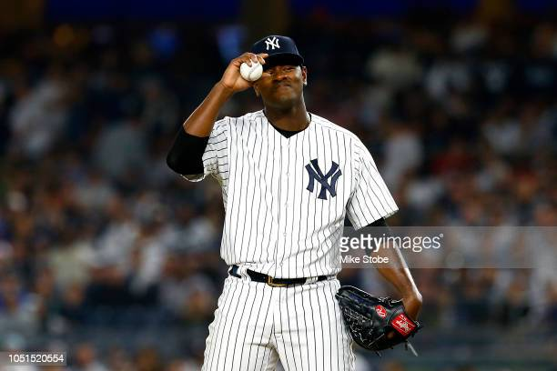Luis Severino of the New York Yankees reacts against the Boston Red Sox during the second inning in Game Three of the American League Division Series...