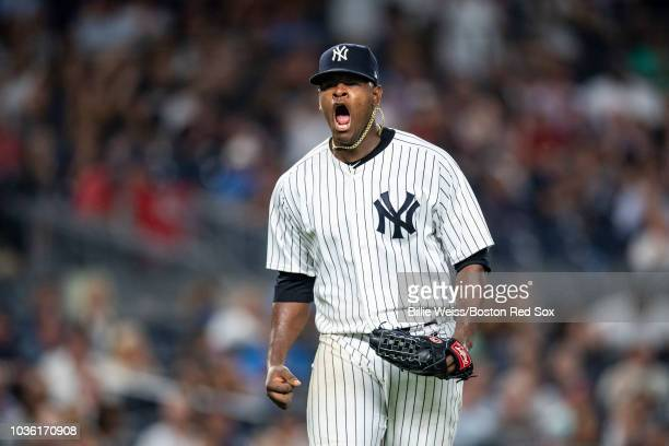 Luis Severino of the New York Yankees reacts during the seventh inning of a game against the Boston Red Sox on September 19 2018 at Yankee Stadium in...