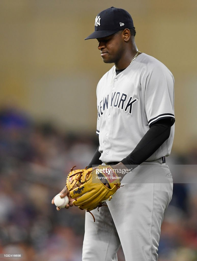 Luis Severino #40 of the New York Yankees reacts during the sixth inning of the game against the Minnesota Twins on September 12, 2018 at Target Field in Minneapolis, Minnesota. The Twins defeated the Yankees 3-1.