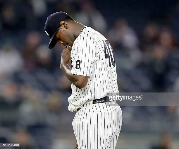 Luis Severino of the New York Yankees reacts in the third inning against the Chicago White Sox at Yankee Stadium on May 13 2016 in the Bronx borough...