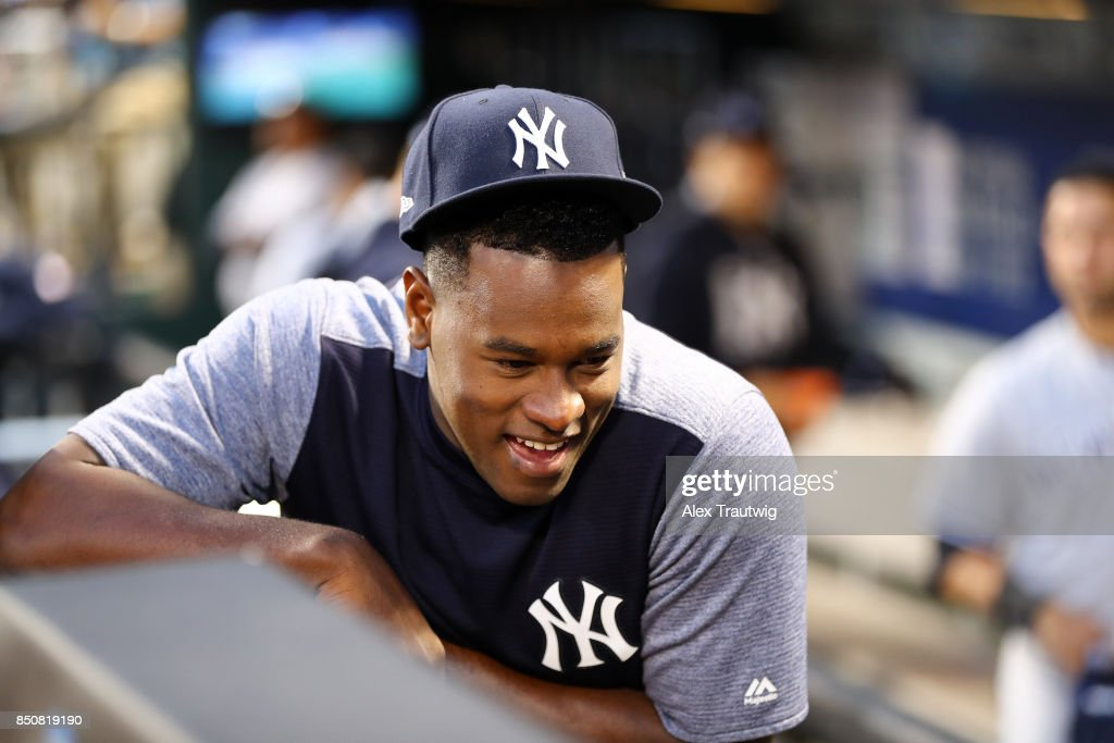 Luis Severino #40 of the New York Yankees sits in the dugout during the game against the Tampa Bay Rays at Citi Field on Monday, September 11, 2017 in the Queens borough of New York City.