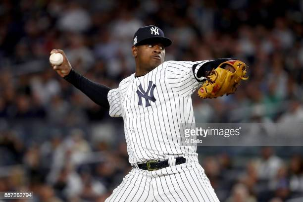 Luis Severino of the New York Yankees throws a pitch against the Minnesota Twins during the first inning in the American League Wild Card Game at...