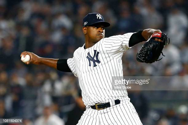Luis Severino of the New York Yankees throws a pitch against the Boston Red Sox during the first inning in Game Three of the American League Division...