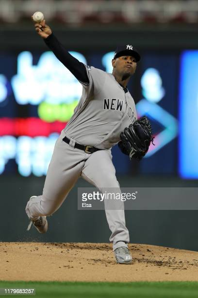 Luis Severino of the New York Yankees throws a pitch in the first inning of game three of the American League Division Series at Target Field on...