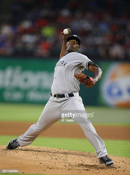 Luis Severino of the New York Yankees throws in the first inning against Texas Rangers at Global Life Park in Arlington on April 26 2015 in Arlington...