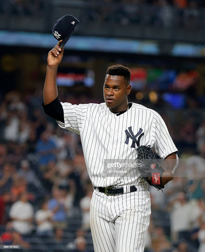 Luis Severino #40 of the New York Yankees tips his cap to the crowd as he leaves a game against the Boston Red Sox in the seventh inning at Yankee Stadium on July 1, 2018 in the Bronx borough of New York City.