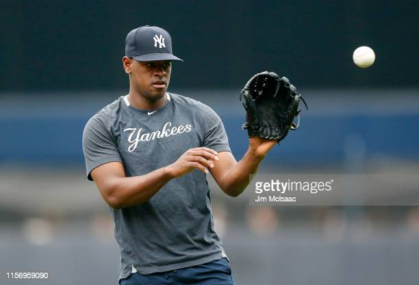 Luis Severino of the New York Yankees warms up on the field prior to a game against the Tampa Bay Rays at Yankee Stadium on June 19 2019 in New York...