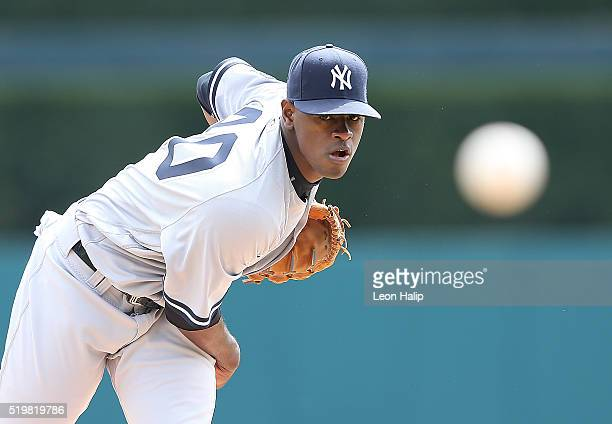 Luis Severino of the New York Yankees warms up prior to the start of the first inning of the Opening Day Game against the Detroit Tigers on April 8...