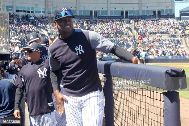 Luis Severino of the Yankees is all smiles before the game between the Pittsburgh Pirates and the New York Yankees on March 15 at George M...