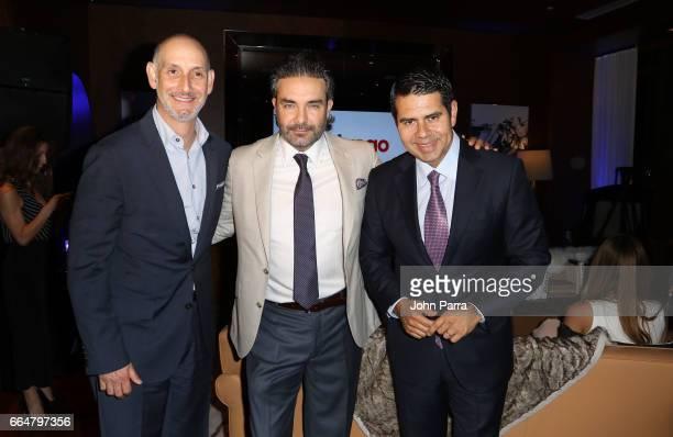 Luis Silberwasser President of Telemundo Network Mauricio Islas and Cesar Conde chairman of Telemundo attend the screening Of Telemundo's El Chapo on...
