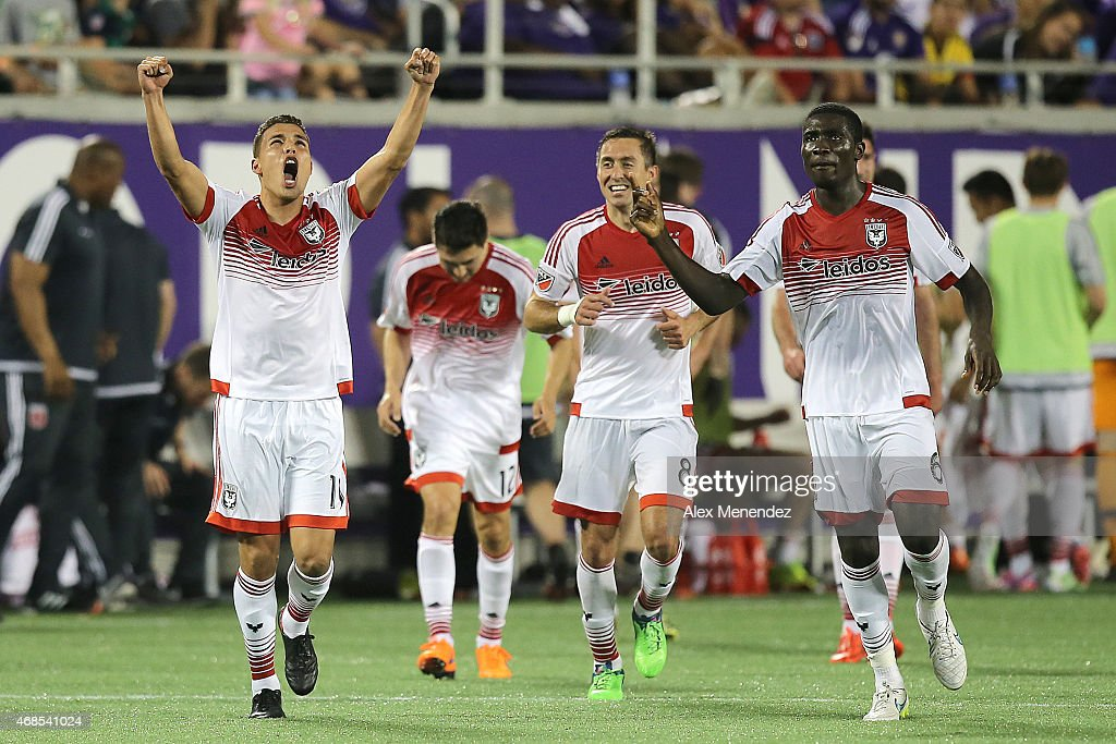 Luis Silva #11 of D.C. United celebrates his game winning goal during a MLS soccer match against the Orlando City SC at the Orlando Citrus Bowl on April 3, 2015 in Orlando, Florida. D.C. United won the match 1-0.