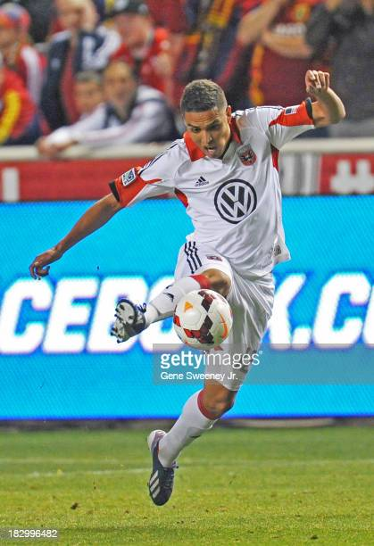 Luis Silva of DC United kicks the ball against Real Salt Lake during the 2013 US Open Cup Final at Rio Tinto Stadium October 1 2013 in Sandy Utah
