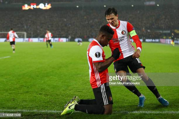 Luis Sinisterra of Feyenoord celebrates with Steven Berghuis of Feyenoord after scoring his sides second goal during the UEFA Europa League group G...